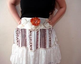 Orange Flower Sash belt, Brunt orange champagne wedding belt Bridal sash belt with flower