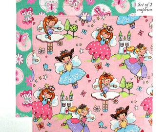 Kids Cloth Napkins 12 Inch Fabric Lunch Box Napkins for Girls Fairy Princess, Set of 2