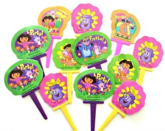 Dora Cupcake Toppers Stickers Dora Birthday Party Cake Toppers Favors Decor, Set of 12 Dora The Explorer Cupcake Picks