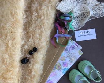 German mohair fabric, glass eyes, cotton batiste fabric liberty of london tana lawn, silk ribbon, french lace, wool felt, doll shoes, set #1