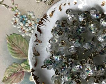 Vintage Venetian Beads Connectors, Drops Dangles Beads,Glass Connectors, Dangle Charms, Rainbow Glass Connector #1370B