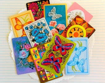 Vintage Playing Cards / Butterflies & Blooms / Lot of 10 / Daily Planner / Junk Journal