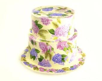 Custom Wedding Cake Gift Card and Keepsake Box - 2 Tiers, Hand-Painted Hydrangeas, Pine Fronds - Personalized Wedding Keepsake Box Set