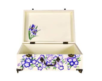 Blue Floral Hand-Painted Tea Box - Hand Painted Iris and Forget-Me-Nots, Green Leaves - Medium Wood Keepsake Box, Guest Room Toiletries Box
