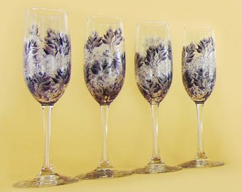 12x Hand-Painted Champagne Flutes - Midnight Navy Blue + Silver Roses, Personalized - Custom Wedding Party Favors Stemless Champagne Glasses
