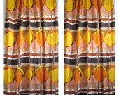 Pair Drapes 1970's mid century modern Fully Lined Triple Pleated mod linen union fabric 9 feet long