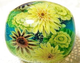 Sunflower Garden Satake Glass Lampwork Round Flower Bead sra