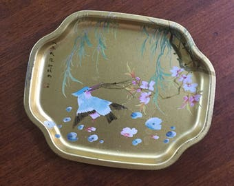 Vintage 60s Gold Bird Motif Mini Tray • Vintage Worn Made in England Tray