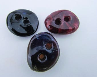 Handmade Glass two hole button Three Button Set Lampwork Art Glass Fastener Boro hand Blown Glass One of a kind Unique Rustic Button