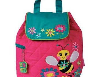 Personalized Backpack Stephen Joseph PINK BEE Backpack Childs Monogram Embroidered Backpack Kids Backpack Tote Bag