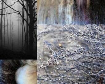 Barren Wood - 5.4 oz Superwash Merino/cashmere/angora/silk/firestar/ Angelina/bamboo art batt