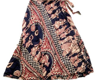 Vintage Hippie Wrap Skirt / Batik Gauze Wrap SKirt / Elephants Boho Chic