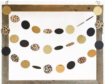 SummerSale Cheetah, Black and Glittery Gold Party Decor, Leopard Garland, Birthday Party Decor, Bachelorette Party Decor, Shower and Birthda