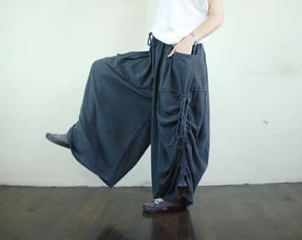 Love Me..Love Me Not IV - Steampunk Dark Charcoal Gray Cotton Wide Leg Pants With 2 Roomy Pockets & Side Ruching