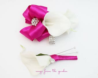Fuchsia and White Callas and Rhinestones Real Touch Wedding Boutonniere and Corsage - Wedding Homecoming Prom Corsage