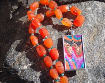 """Multicolored Clay Pendant and Carnelian Chain Necklace - """"Once Upon a Song"""""""