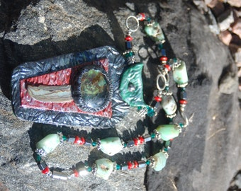 """Abalone Glass and Polymer Clay Necklace, Chryoprase Abalone and Crystal Necklace, Chryoprase Coral Hematite Necklace, """"Chasing Waterfalls"""""""