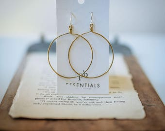 BRASS HOOP EARRINGS, Isla Earrings, Classic Earrings, Statement earrings, Matte hoops, continuous hoop, hammered hoop, pommier-benoit
