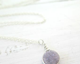 Druzy Necklace Lavender Druzy Necklace Round Druzy Drusy Jewelry Wire Wrapped Druzy Sterling Silver Druzy Pendant Necklace Light Purple