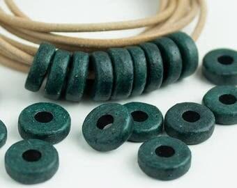 25%OFF 20 Mykonos beads Dark Green round washer 8mm Round Spacers Flat Washers Disk Greek Ceramic beads