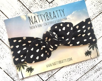 Baby Headband - Stretch Top Knot Headband - Baby Toddler - Black and White - Polka Dot Print - Tie Up - Vintage Style - Tribal Baby Girl