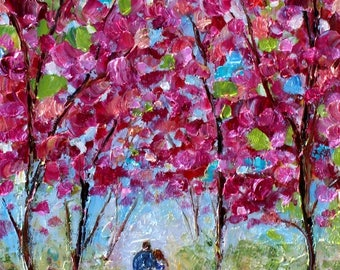 Spring Love Romance landscape painting in oil palette knife abstract impressionism on canvas 10x20 fine art by Karen Tarlton