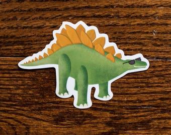 Cool Stegosaurus in Sunglasses Sticker, Dinosaur Sticker, Vinyl Stickers, Laptop Decal, Hydroflask Sticker, Kids Gift, Gifts Under 5