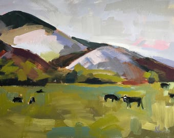 Cows in the Pasture Original Oil Painting by Angela Moulton 14 x 18 inches pre-order