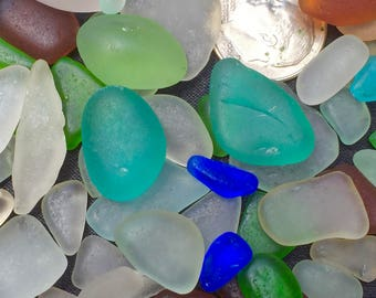 Beach Glass or Sea Glass of Hawaii beach AQUA PAIR! 50 JEWELRY Quality for drilling! Rare colors! Buy Bulk Sea Glass! Mosaic Tiles!