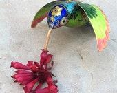 Figurine d'oiseau Colibri cloisonné Vintage ornement émail