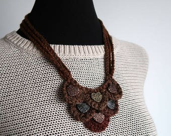 FREE US SHIPPING - Statement Necklace Hazelnut Cinnamon  Brown Chestnut Color Fiber Crochet Bib Style Necklace with Metal Hearts Pendants