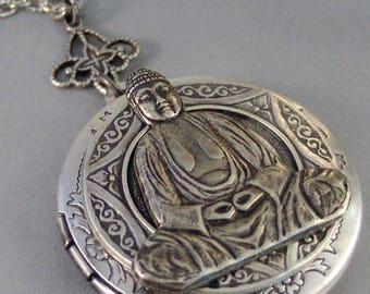Buddha,Locket,Silver Locket,Locket,Necklace,Antique Locket,Buddha Necklace,Yoga,Mandala,Namaste,Spiritual Neckalce.valleygirldesigns.