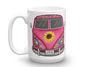 VW Hippie Bus Coffee Mug - 1963 Hippie Bus Cup - Volkswagen Lover Gift - VW Hippie Camper Mug - Coffee Lover Gift - Classic Car Lover Gift