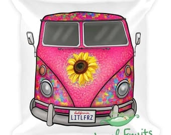 Hippie Bus Pillow - VW Camper Van Throw Pillow - Volkswagen Bus Square Pillow - Gift Idea for Car Lover - 1963 VW Bus Classic Car Home Decor