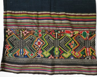 Vintage Lao textile - Asian tribal textile - embroidery handmade skirt (Sarong)