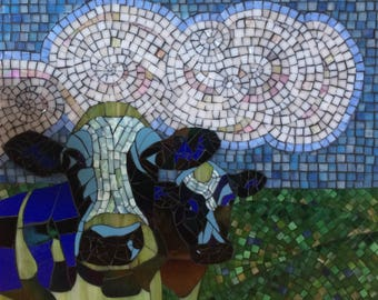 "Stained Glass Mosaic ""Cow Girl Blues"""