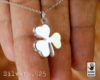 The Shamrock Handmade Sterling Silver .925 Necklace in a gift box