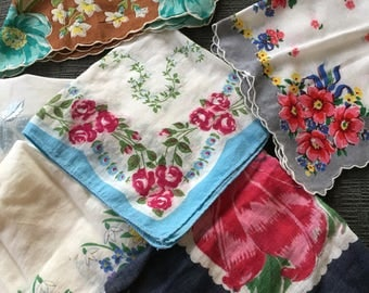 Lot of 11 Vintage Hankies, Solid Whites and Florals
