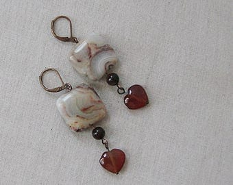 Crazy Lace Agate Earrings with Red Agate Hearts, Red Tiger's Eye on Copper, Yellow, Cream, Orange, Red
