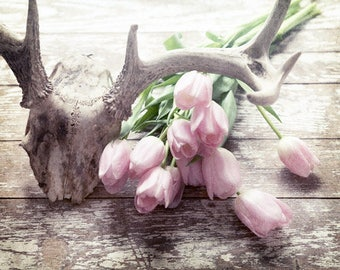 Deer Antler Decor, Rustic Wall Decor, Modern Farmhouse Decor, Country Chic Decor, Pink Flower Print, Country Western, Rustic Farmhouse