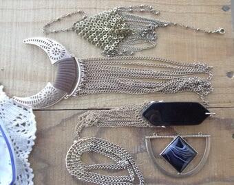 Vintage Jewelry Lot - Chain Destash - Vintage Tassel - Metal Tassels-  Chain Charms - Vintage Chain - Long - D237