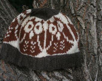 Hand Knit Wool Owl Hat