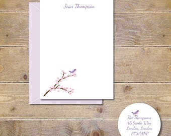 Cherry Blossom Note Cards, Bird Note Cards, Birds, Cherry Blossoms, Note Cards, Personalized, Song Birds, Cherry Blossom Stationery