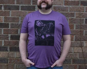 Plague Hunter Linocut Relief Printed T-Shirt