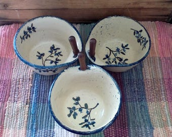 Handmade ceramic serving bowl - pottery cheese bowl - entertaining - stoneware serving bowl with cheese spreader -  painted in blueberries