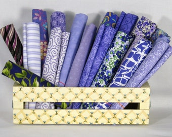 Purple Fat Quarter Bundle, 18 Fat Quarters, 100% Cotton Quilt Fabric Bundle, Cotton Fabric Blenders, Various Manufacturers
