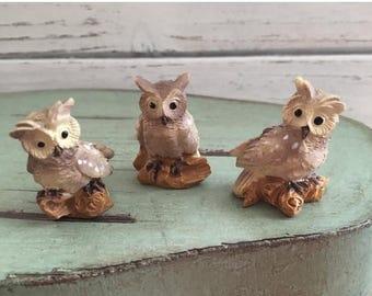 4th SALE Mini Owl Figurines, 3 Piece Set, Fairy Garden Accessory, Miniature Garden Decor, Topper, Shelf Sitter, Mini Owls