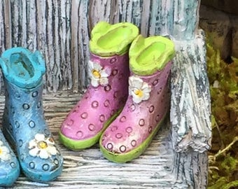 SALE Miniature Rain Boots, Wellies, Purple With Green Soles, Fairy Garden Accessory, Home and Garden Decor, Dolls and Dollhouses