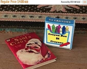 SALE Miniature Santa Claus Coloring Book and Crayon Box, Dollhouse Miniature, 1:12 Scale, Dollhouse Accessory, Holiday Decor, Mini Book