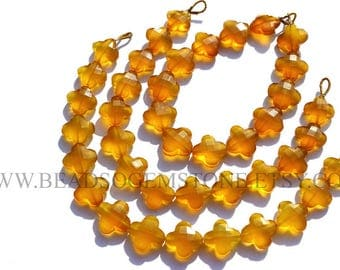 AAA Supper Quality Natural Yellow Chalcedony Faceted Flower Beads (12.5 to 14), CHALCEDON-022, Semiprecious Gemstone Beads, Craft Supplies